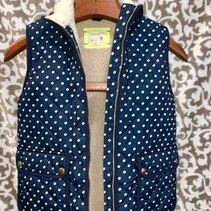 crewcuts Girls Polka-Dot Sherpa-Lined Puffer Vest